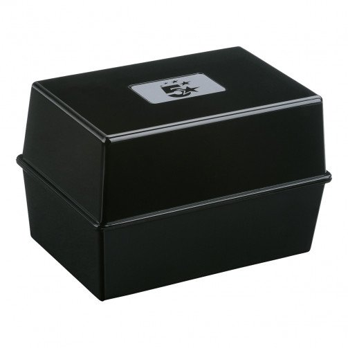5 Star Card Index Box 8X5in Black